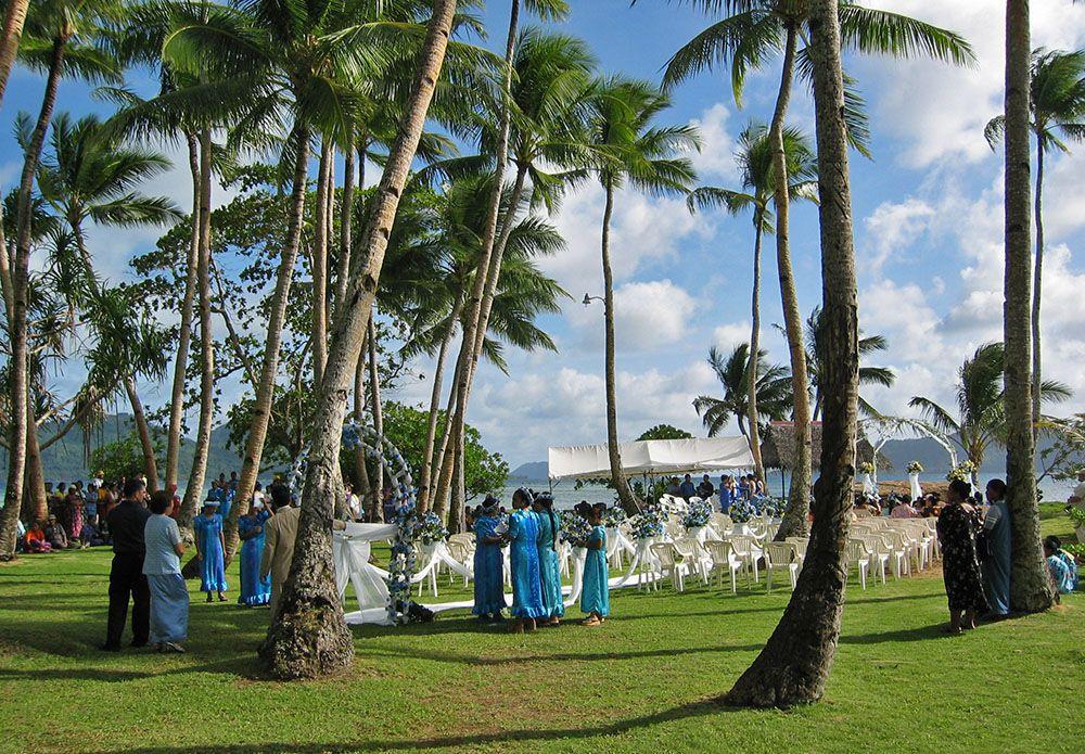 bruiloft op het hoofdeiland van Chuuk
