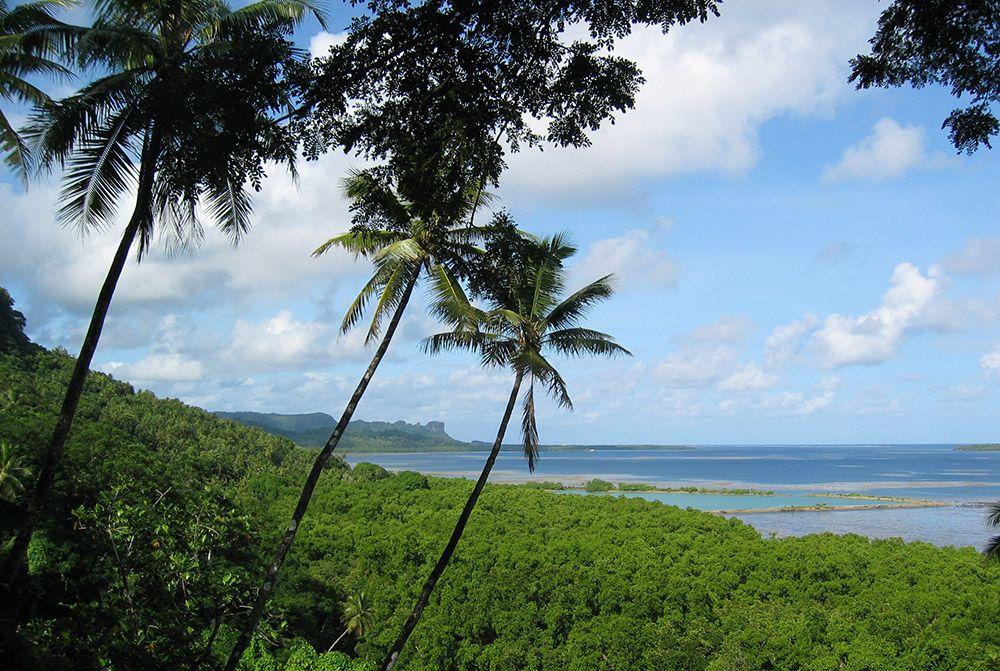 uitzicht vanaf ons hotel op Pohnpei