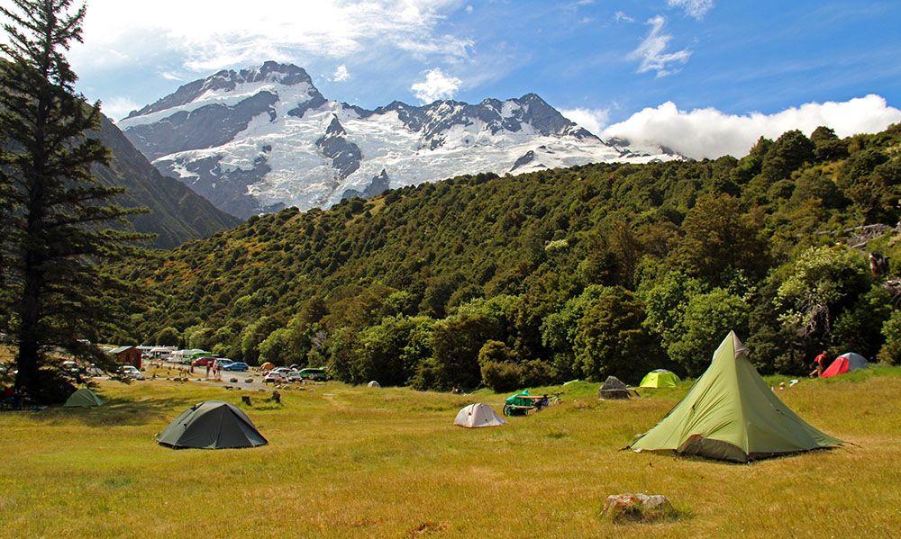 Kamperen bij de Mount Cook, Zuidereiland, Nieuw-Zeeland