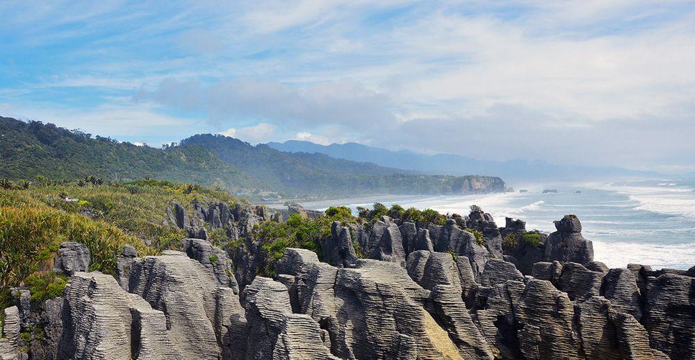 Pancake rocks bij Punakaiki, Nieuw-Zeeland