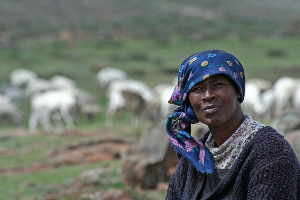 Herdersvrouw in Lesotho.