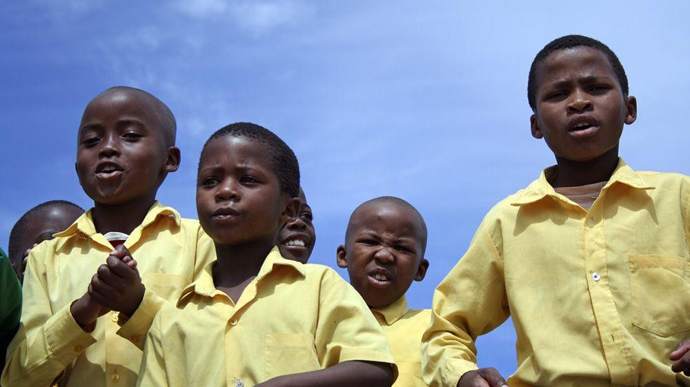 scholieren op de Tafelberg, Zuid-Afrika
