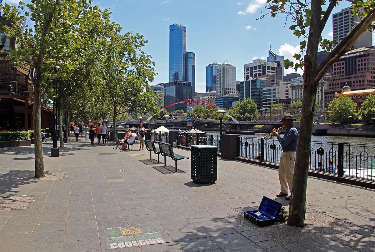 Straatmuzikant in Melbourne, Australië