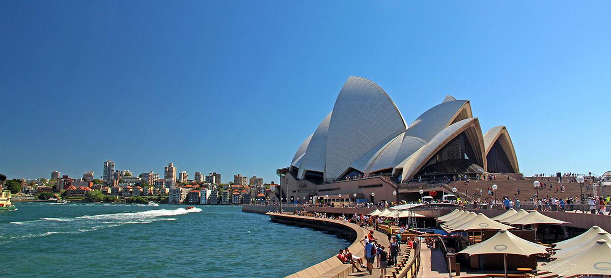 Vlakbij het Opera House in Sydney