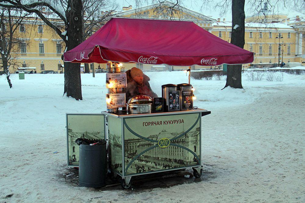 Mobiel koffietentje in Sint-Petersburg, Rusland