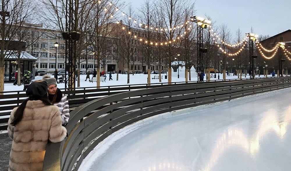 ijsbaan van New Holland in Sint-Petersburg, Rusland