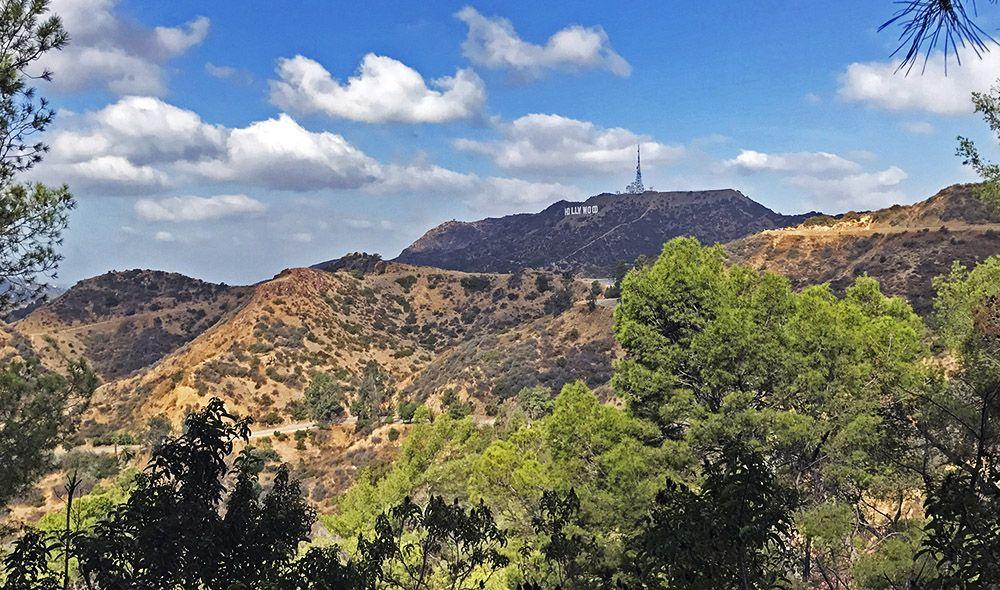 Uitzicht op Hollywood Sign vanuit het Griffith Park in Los Angeles