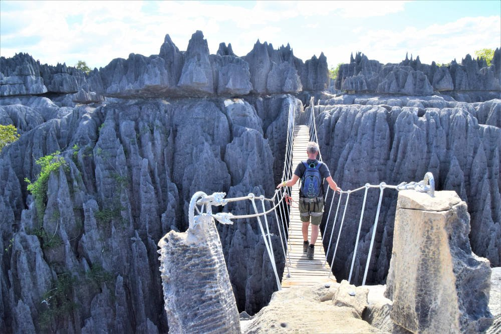 Hangbrug bij Tsingy de Bemaraha