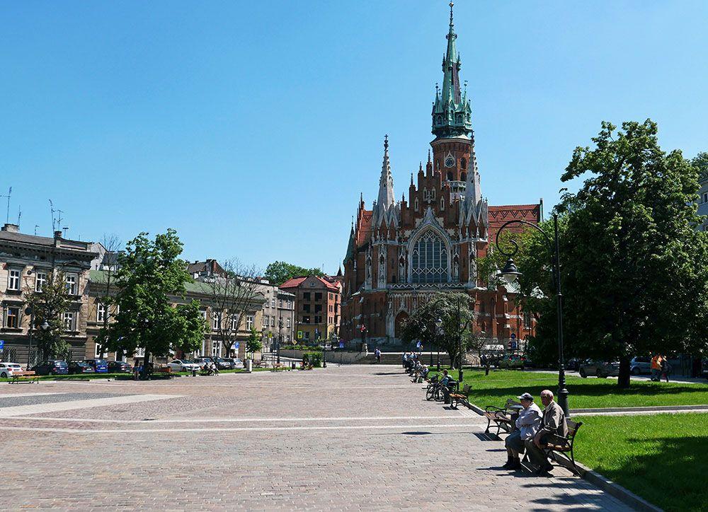 plein met kerk in Krakau