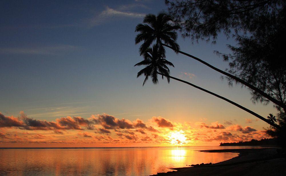 zonsondergang op Rarotonga, Cookeilanden