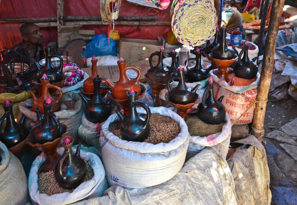 koffiepotten in Addis Abeba, Ethiopië