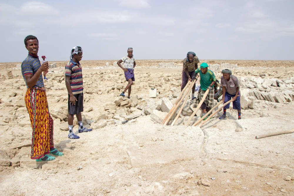 Zoutblokken bij Danakil, Ethiopië