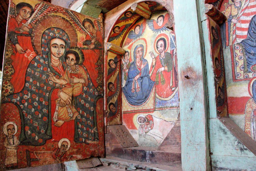 Fresco's in een kerk in Ethiopië