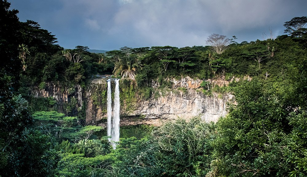 waterval in Black River Gorges National Park op Mauritius