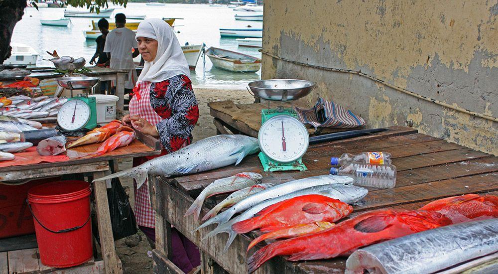 vismarkt in Port Louis op Mauritius
