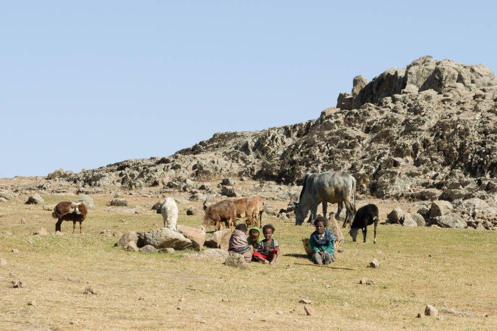 Herdersfamilie bij Lalibela, Ethiopië