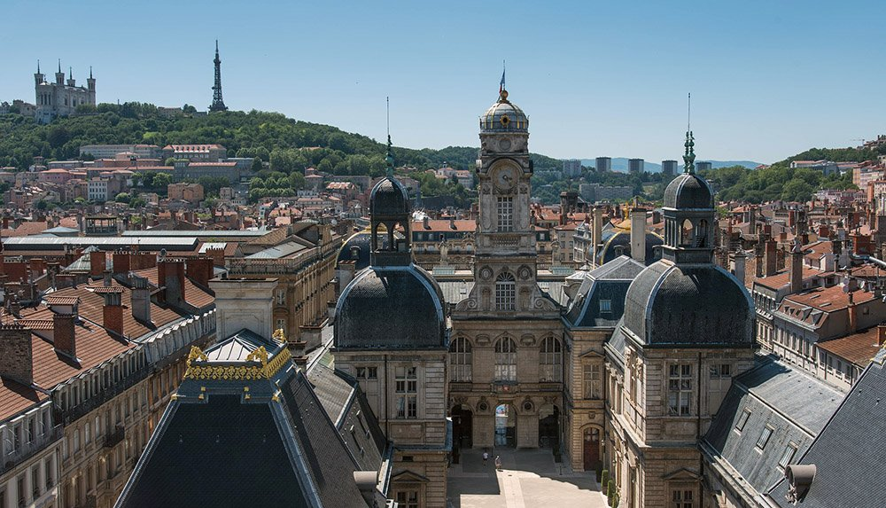 Vieux Lyon met uitzicht op de Fourvière