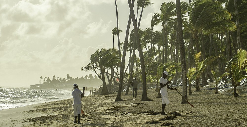 Stevige bries bij Punta Cana, Dominicaanse Republiek