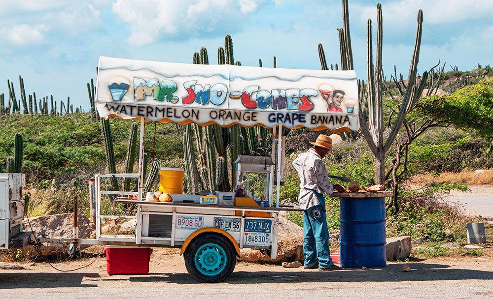 mobiel fruitstalletje op Aruba