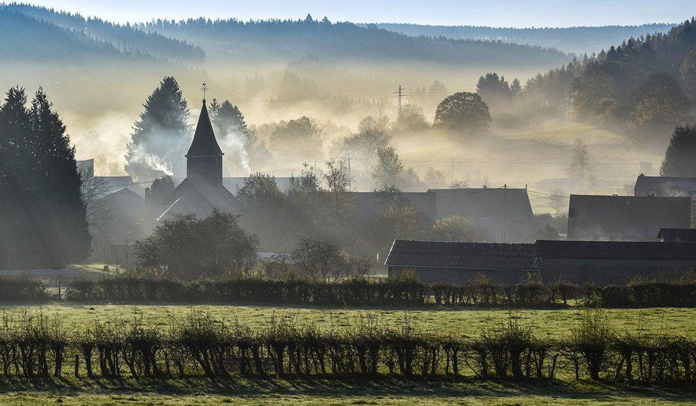 Mist in de Belgische Ardennen