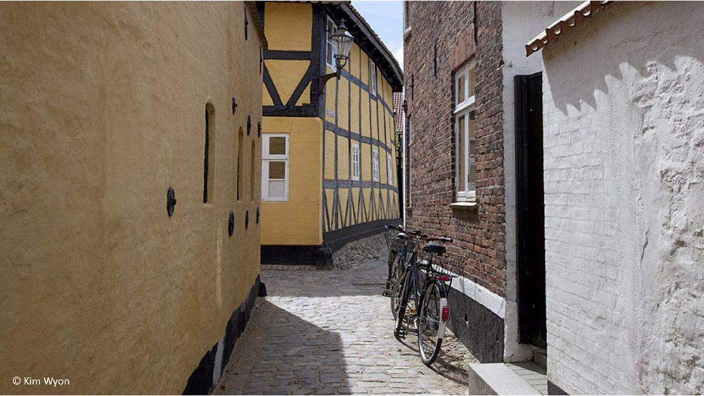 centrum van Ribe, de oudste stad van Denemarken