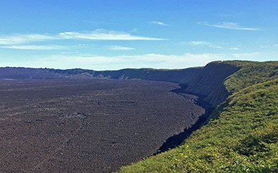 De vulkaan Sierra Negra op de Galapagos eilanden
