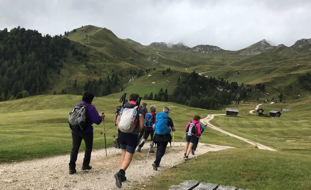 Wandelaars met wandelstokken in de bergen