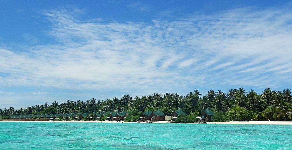 Palmenstrand op de Malediven