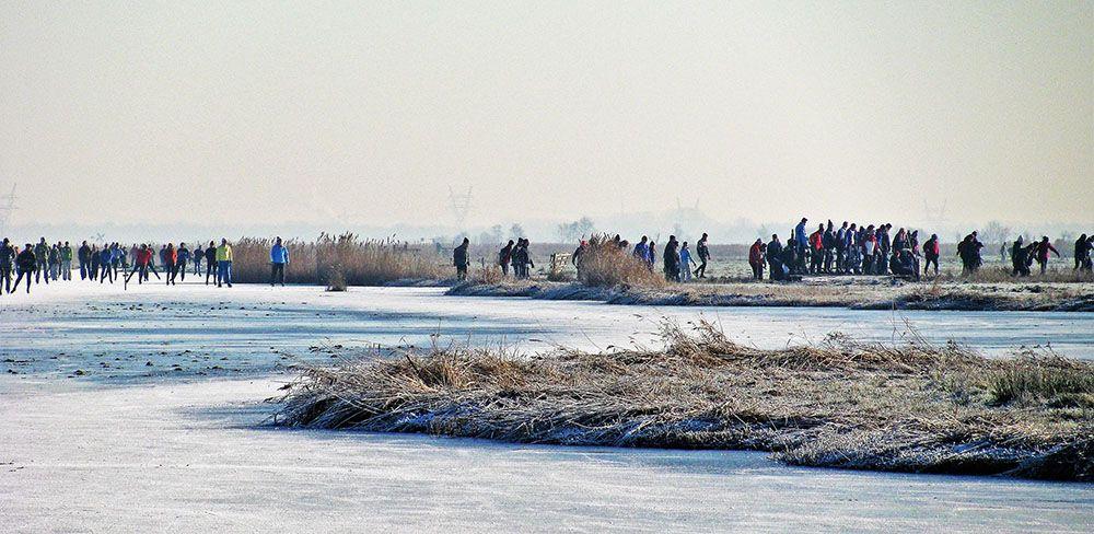 Klunen tijdens een schaatstocht