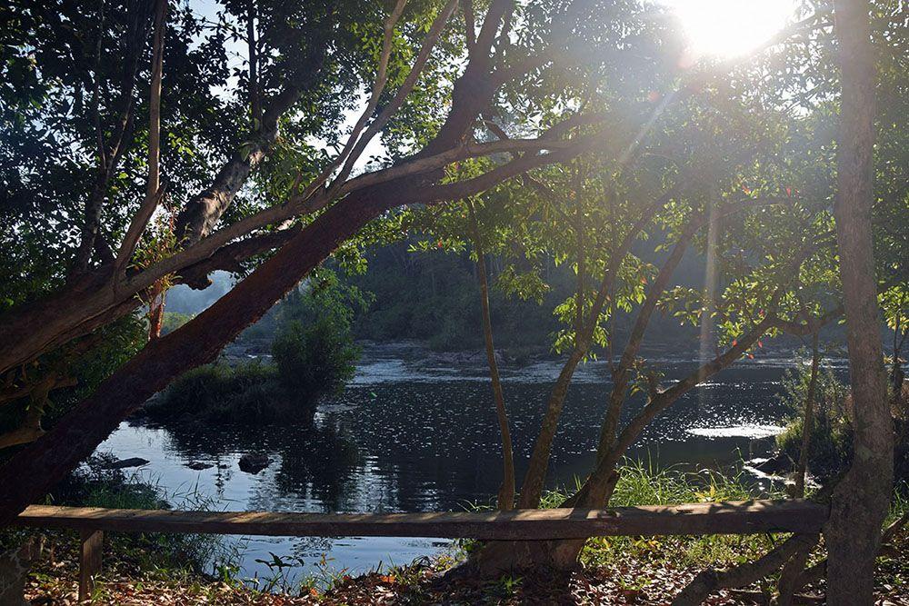 De zon schijnt door de bomen bij rivier in de buurt van Ban Lung.