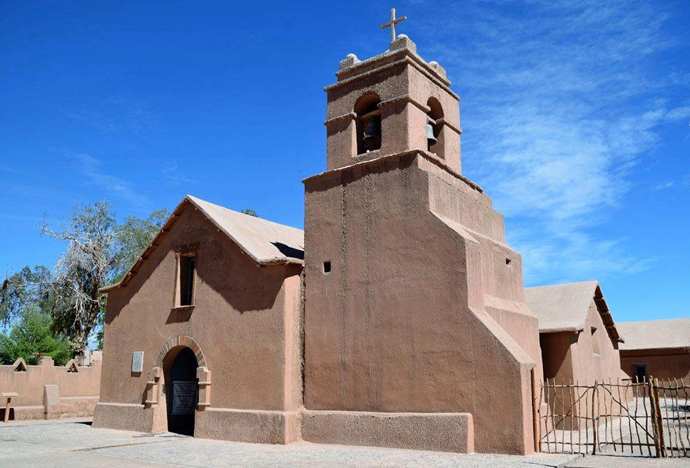De kerk in het centrum van San Pedro de Atacama.