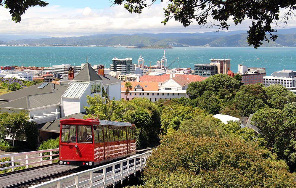 uitzicht op Wellington en te papa museum, Nieuw-Zeeland.