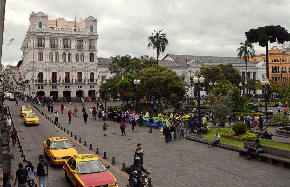 Het centrale plein van Quito.