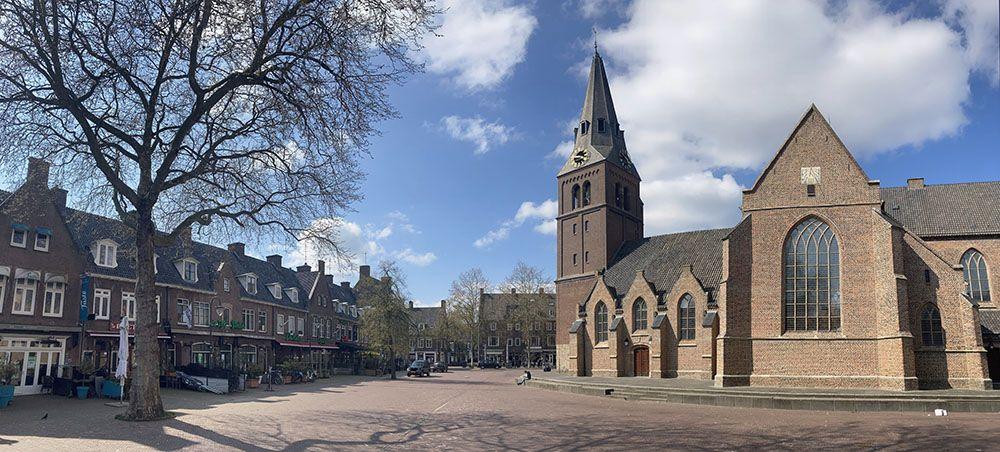 Markt in het centrum van Wageningen