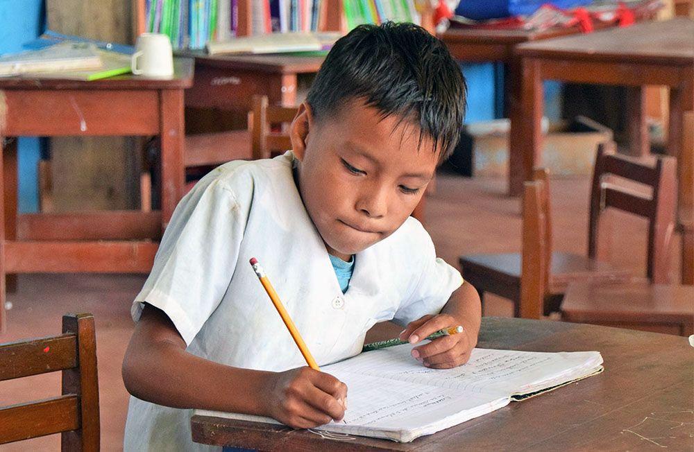 Een schooljongen schrijft in een schrift in het Amazone regenwoud