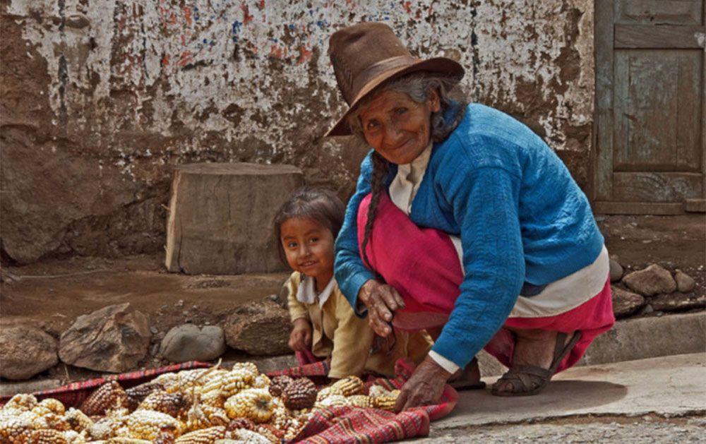 Een Peruaanse vrouw droogt maiskolven