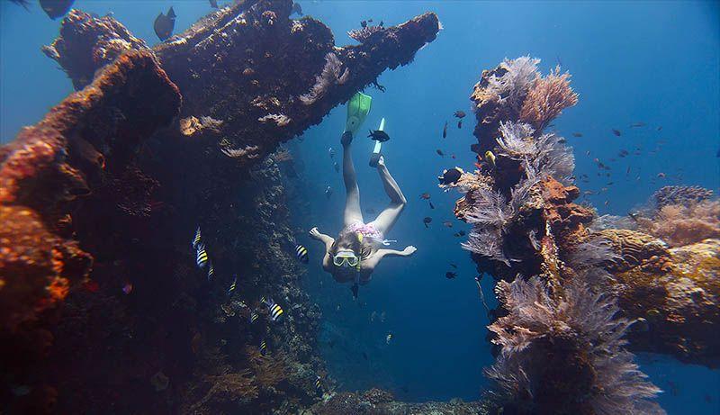 vrouwelijke duiker bij de usat liberty op bali