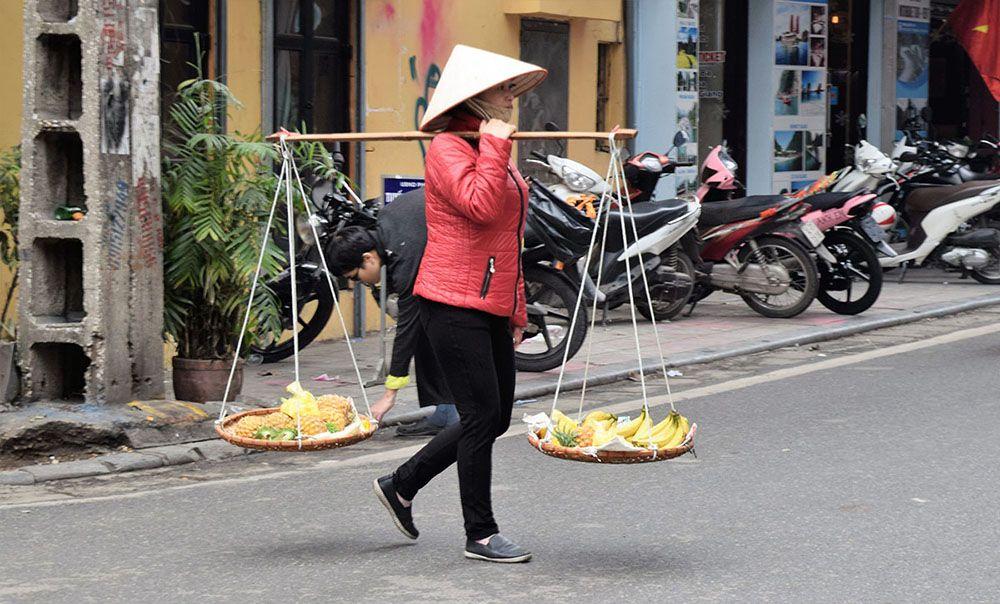 Straatbeeld in Hanoi, Noord-Vietnam